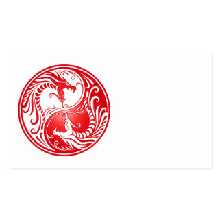 Red Yin Yang Dragons Business Card
