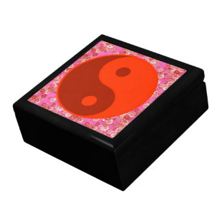 Red Yin Yang Flowers Pattern Keepsake Box