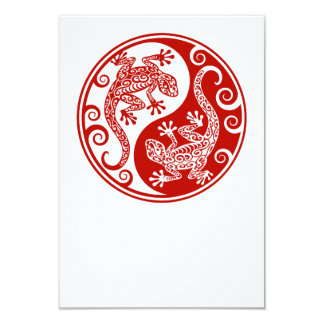 Red Yin Yang Lizards Card