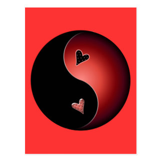 red yin yang postcard