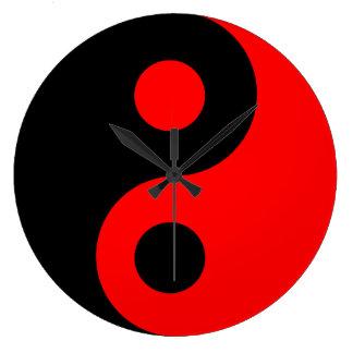 Red Yin Yang Wall Clock