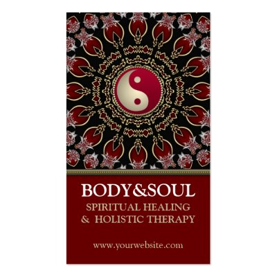 Red YinYang Eastern New Age Business Cards