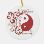 Red Yinyang with scrolls ornament