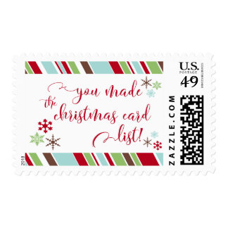 Red You Made the Christmas Card List w/ Snowflakes Postage