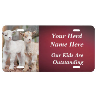 RED YOUR GOAT PHOTO and HERD NAME License Plate