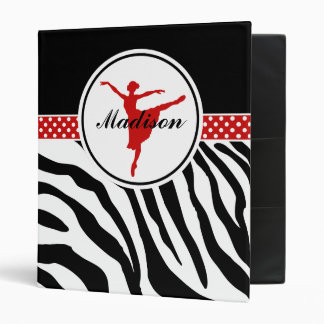 Red Your Name Zebra Print Ballet Dancer 3 Ring Binder