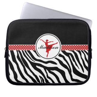 Red Your Name Zebra Print Ballet Dancer Computer Sleeves