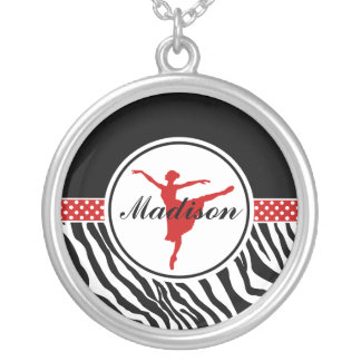 Red Your Name Zebra Print Ballet Dancer Silver Plated Necklace