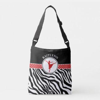 Red Your Name Zebra Print Ballet Dancer Tote Bag