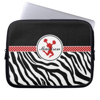 Red Your Name Zebra Print Cheerleader / Pom Laptop Sleeves