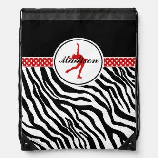 Red Your Name Zebra Print Figure Skating Drawstring Backpack