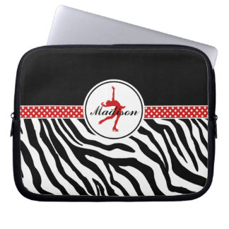 Red Your Name Zebra Print Figure Skating Laptop Sleeves