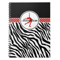 Red Your Name Zebra Print Figure Skating Notebook