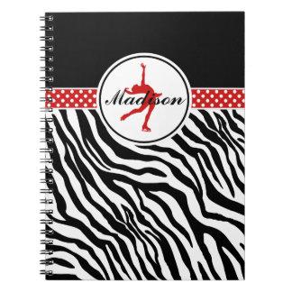 Red Your Name Zebra Print Figure Skating Spiral Notebook