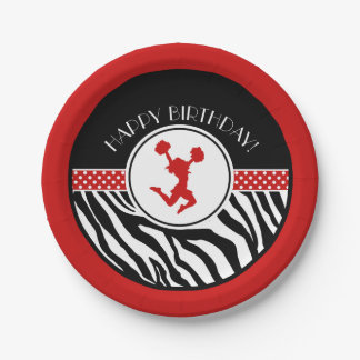 Red Your Text Zebra Print Cheerleader / Pom Paper Plate