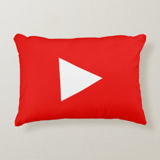 Red YouTube Play Button Accent Pillow