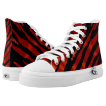 Red Zebra Animal Stripe Patterns High-Top Sneakers