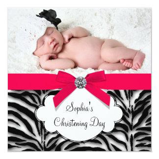 Red Zebra Baby Girl Photo Christening Invitation