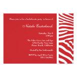 Red Zebra Bachelorette Party Invitation