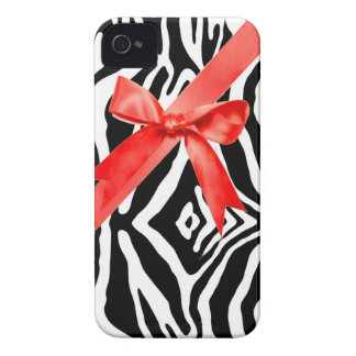 Red Zebra bow Iphone4s Case Case-Mate iPhone 4 Cases