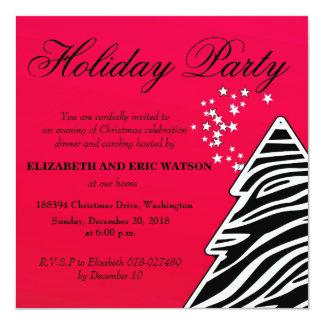 Red Zebra Christmas Tree Card
