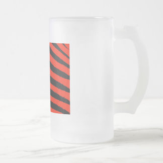 Red Zebra Frosted Glass Beer Mug