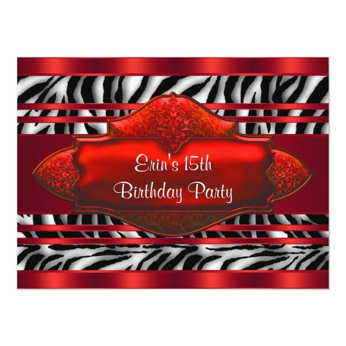 Red Zebra Girls 15th Birthday Party Card