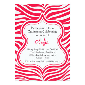 Red Zebra Graduation Invitation Custom Color