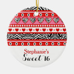 Red zebra heart Sweet 16 Party Ornament