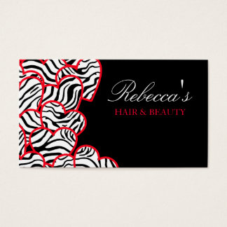 Red zebra Hearts Design Business Card