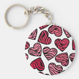 Red zebra hearts Keychain