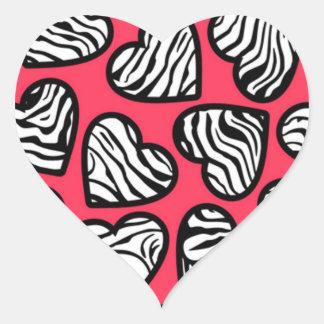 Red zebra hearts sticker