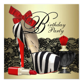 Red Zebra High Heel Shoes Black Red Zebra Party Card