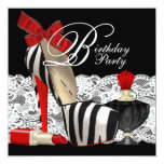Red Zebra High Heel Shoes Black Red Zebra Party Custom Announcement