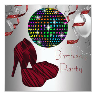 Red Zebra High Heel Shoes Disco Birthday Party Card
