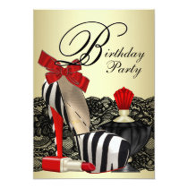 Red Zebra High Heel Shoes Red Zebra Party Card
