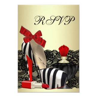 Red Zebra High Heel Shoes Red Zebra Party RSVP Card