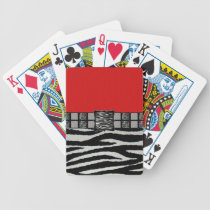 Red Zebra Metal Monogram Bicycle Playing Cards
