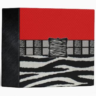 Red Zebra Metal Monogram Vinyl Binder