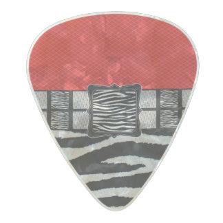 Red Zebra Metal Monogram Pearl Celluloid Guitar Pick