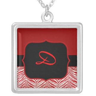 Red Zebra Monogram Necklace Template
