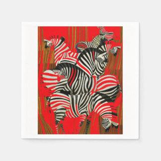 Red Zebra Napkins Standard Cocktail Napkin