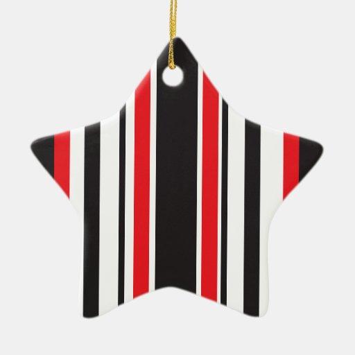 Red Zebra Double-Sided Star Ceramic Christmas Ornament
