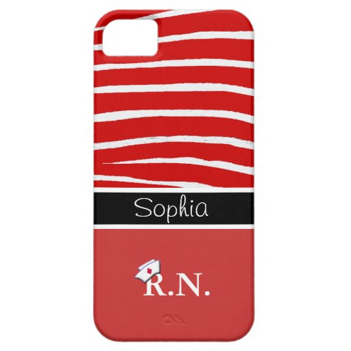 Red Zebra Pattern+Registered Nurse iPhone 5 Covers