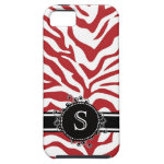 Red Zebra Pattern with Fancy Black Swirl Monogram iPhone 5 Case