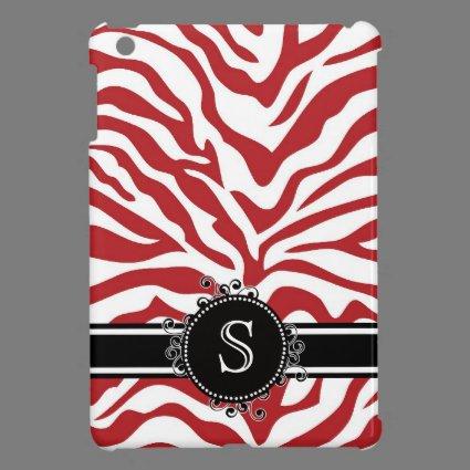 Red Zebra Pattern with Monogram iPad Mini Cases