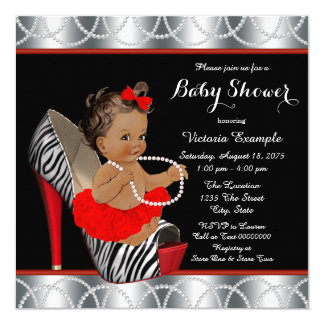 Red Zebra Pearl High Heel Shoe Ethnic Baby Shower Card