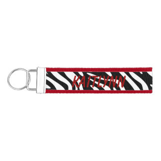 Red Zebra Print Custom Key Fob Wristlet Keychain