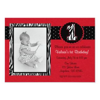Red Zebra Print Girls 1st Birthday Invitation