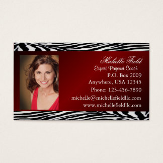 Red Zebra Print Pageant Business Card (Horizontal)